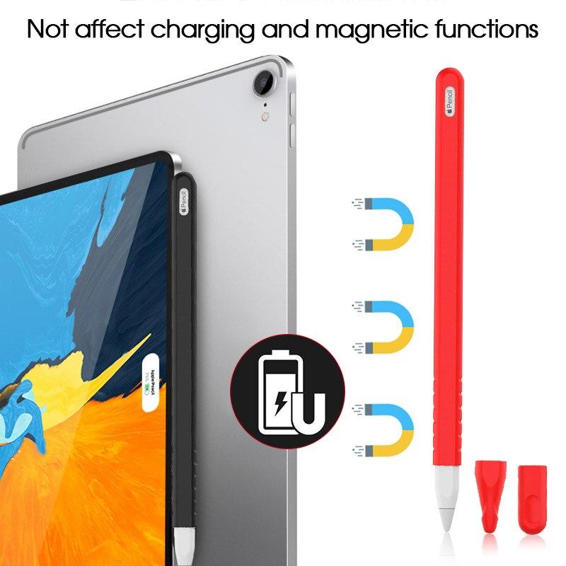 Premium-Fall Für Apple Bleistift 2nd Generation für Apple Bleistift 2 Halter Weiche Silicon Abdeckung Hülse für iPad Tablet Pen mit 2 Kappen