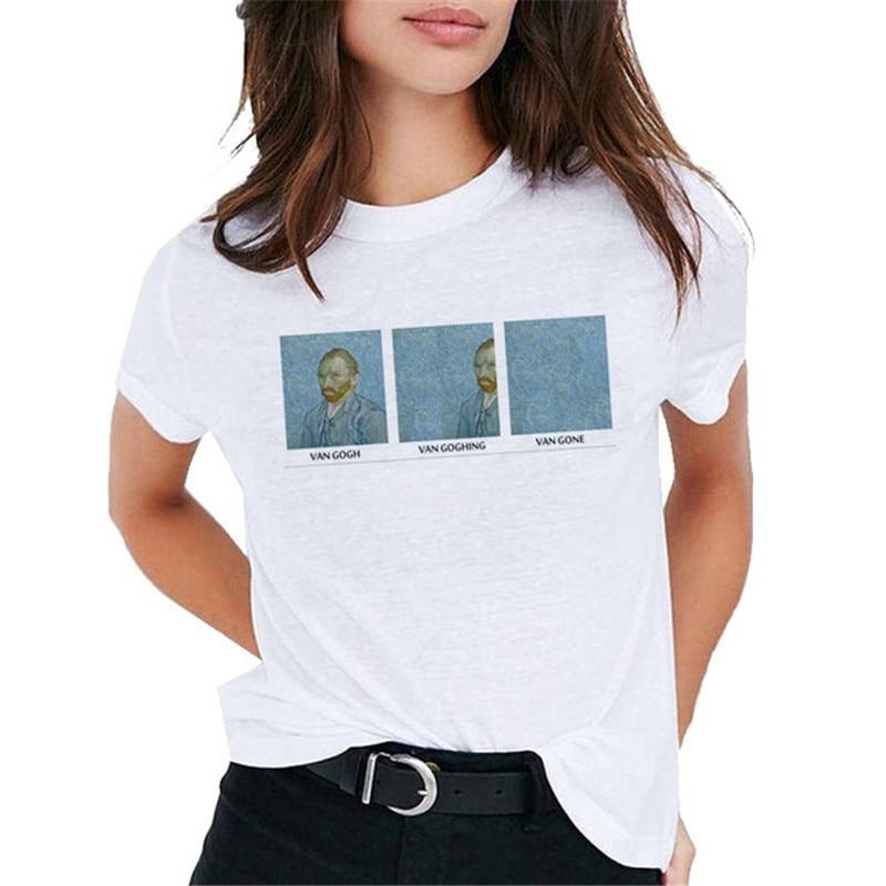 Van Gogh Oil Art женская футболка с принтом Футболка Женская Топ Повседневная новая уличная футболка графическая футболка в стиле Харадзюку Femme 2019