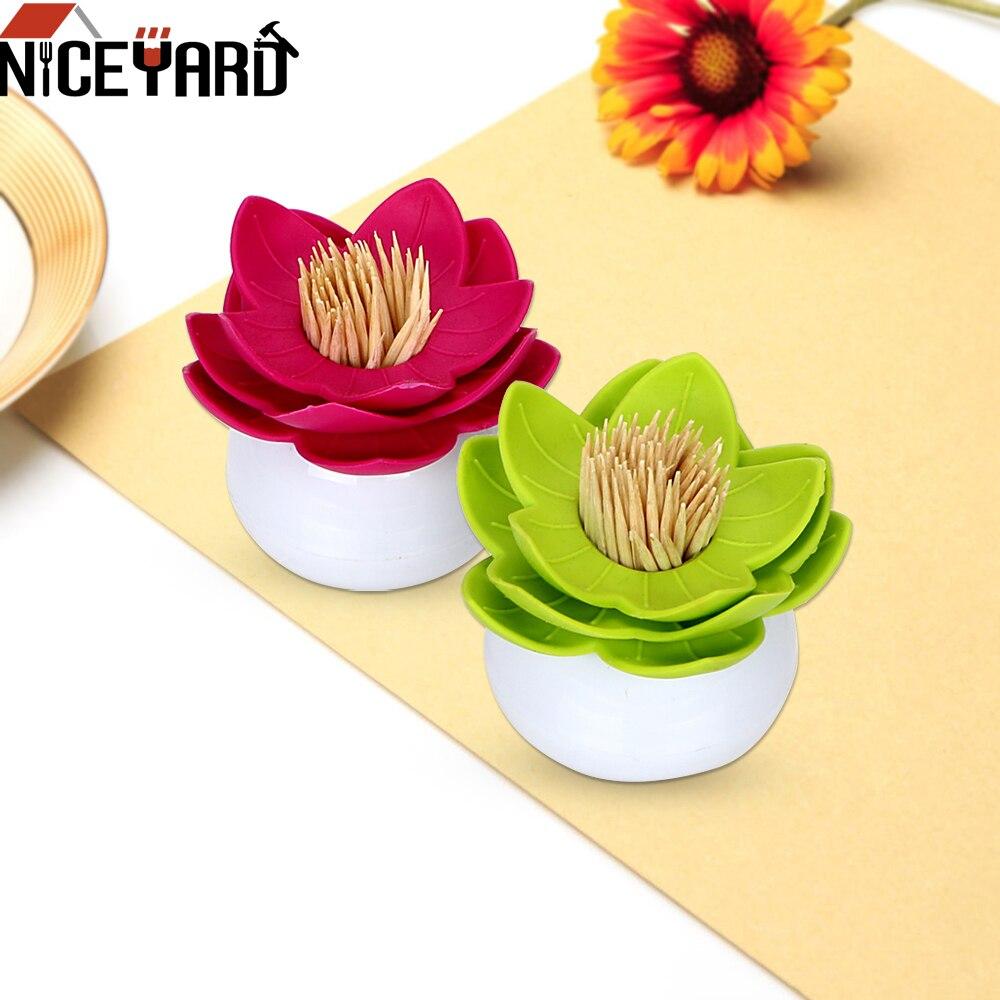 NICEYARD recipiente para bastoncillos caja de almacenamiento organizador algodón funda, soporte con palillos de dientes soporte para bastoncillos con forma de flor de loto decoración de la Mesa