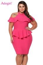Adogirl Plus Size Cold Shoulder Peplum Bodycon Dress Solid Elegant Halter Ruffle Sheath Mini Party Dresses Women Summer Vestidos