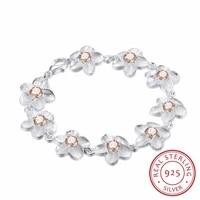 lekani 925 sterling silver plum flower charm bracelets for women high quality girl gift prevent allergy sterling silver jewelry