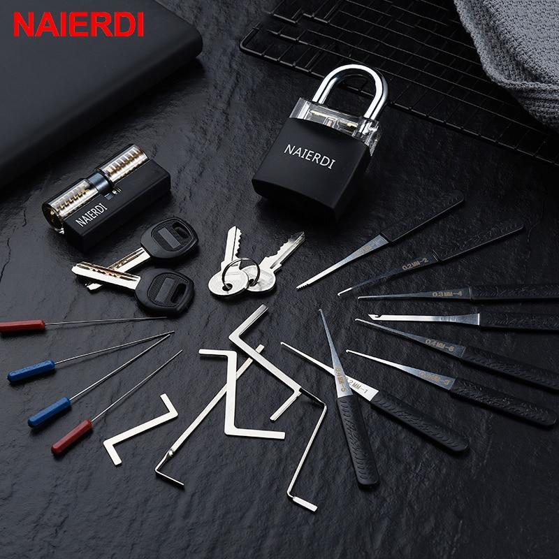 NAIERDI Locksmith herramientas de mano suministros juego de púas de bloqueo transparente Visible práctica candado con ganchos rotos