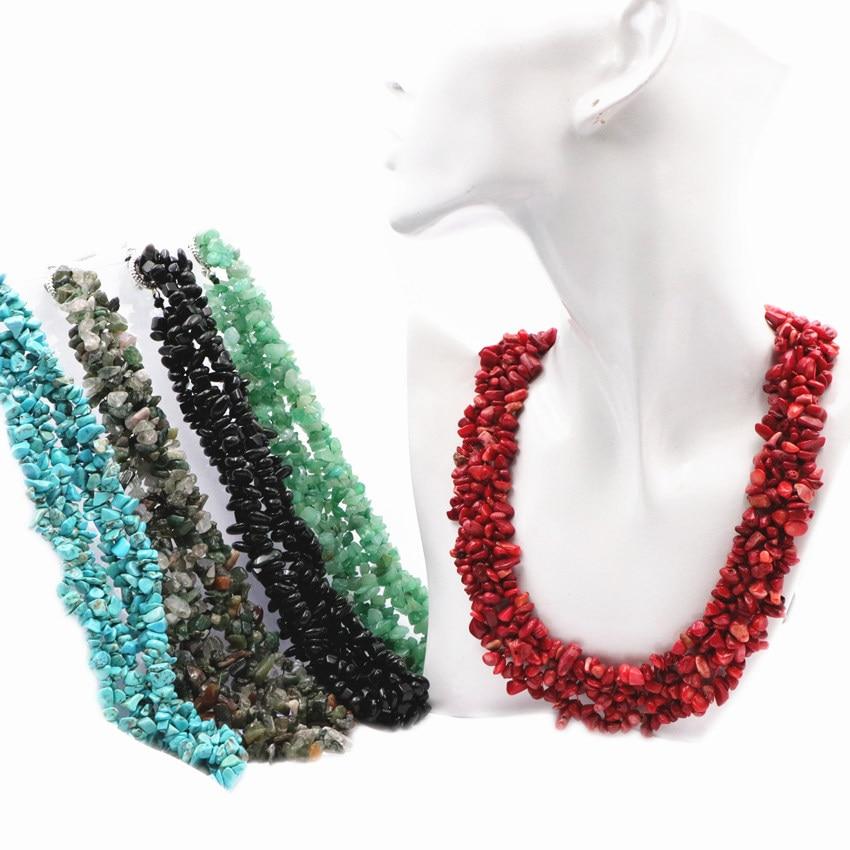 "Collar de cadena bohemio, concha de Aventurina Coral, turquesas, piedra Natural, ágatas, lapislázuli, cuentas de fichas de piedra, collar de 18 ""A647"