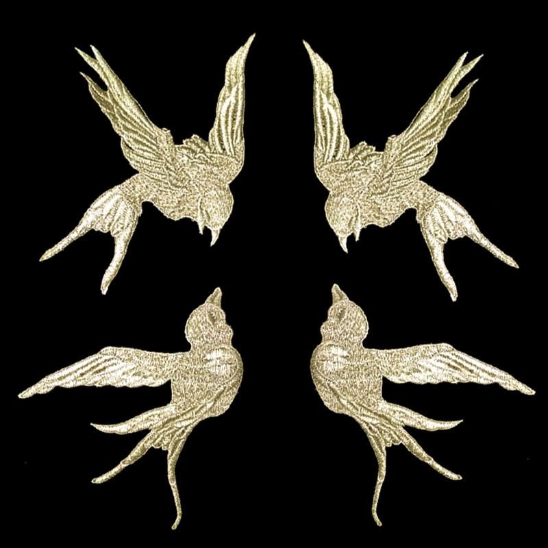 Oro Bordado de hilo se traga pájaro parche para tela de hilo de oro aves apliques golondrinas de pegatinas