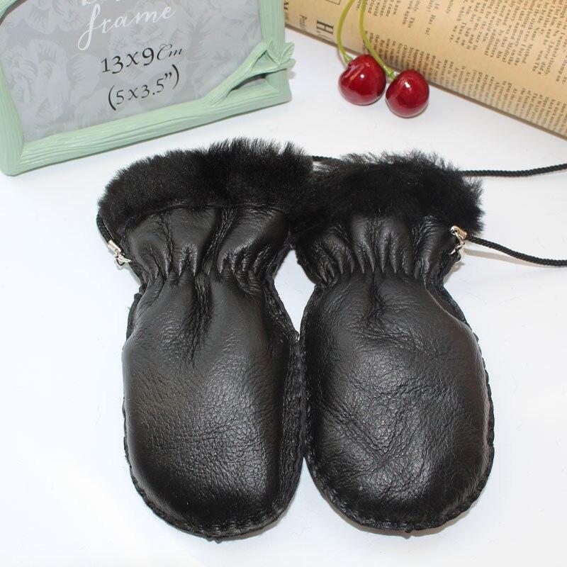 Высококачественные детские перчатки, меховые кожаные перчатки, меховые варежки из овчины, детские меховые варежки, зимние теплые перчатки, ...