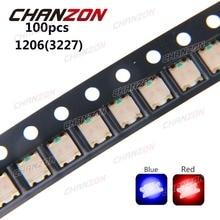100pcs SMD 1206 (3227) Bicolor Blue And Red SMT Chip 20mA DC 2V Light Emitting Diode LED Lamp LED Electronics Components for PCB