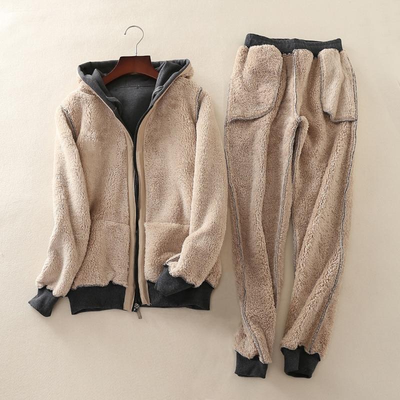 Autumn winter new cashmere sweatshirt women set large size casual hooded zipper jacket plus velvet sporting suit two piece set