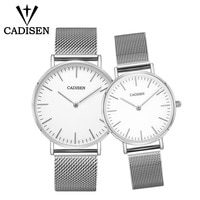 CADISEN Lovers Watches Set Steel Mesh Belt Waterproof Gifts Couples Ultrathin Watch Man And Ladies Dress Men Clock Reloj Hombre