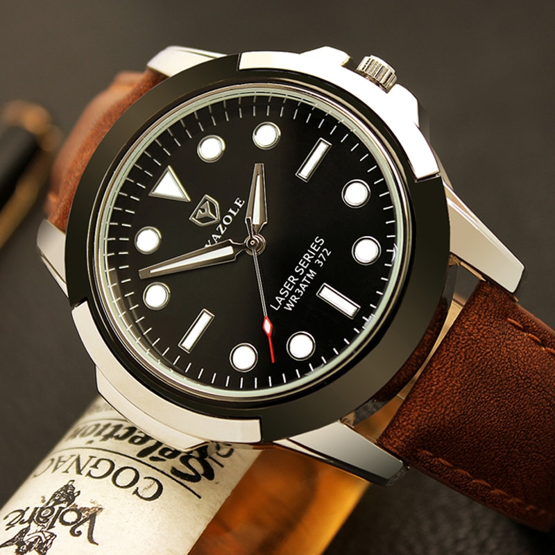 Reloj deportivo YAZOLE 2019 de lujo a la moda para hombre, reloj de cuarzo con correa de cuero, reloj de pulsera impermeable, reloj Masculino saat