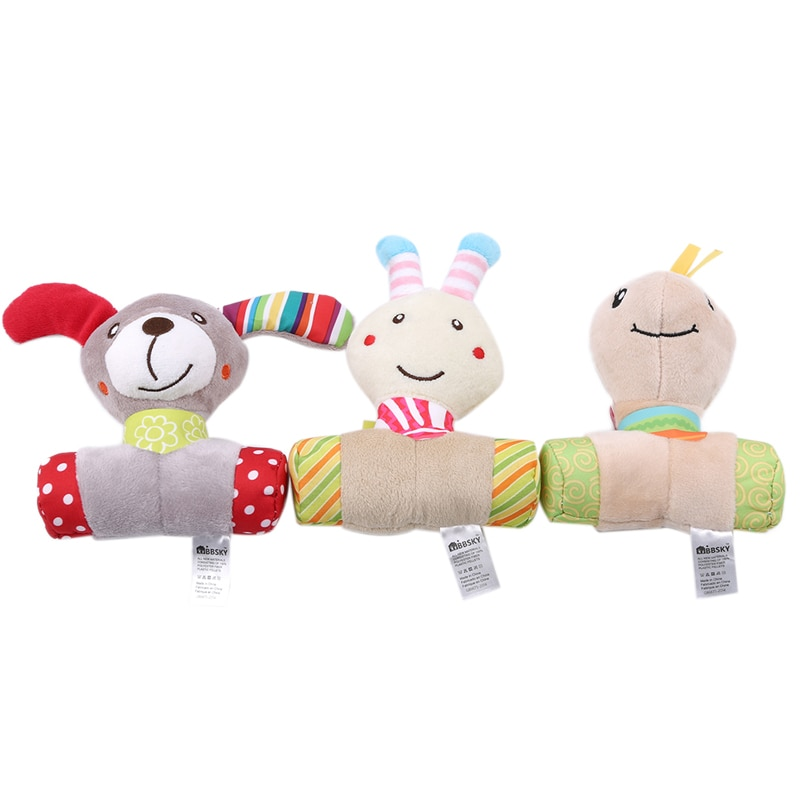 Baby Rattle Toy Cute Cartoon Animals Plush Hand Bell Newborn Boys Girls Stroller Hanging Rattles Kids Speelgoed plush toys