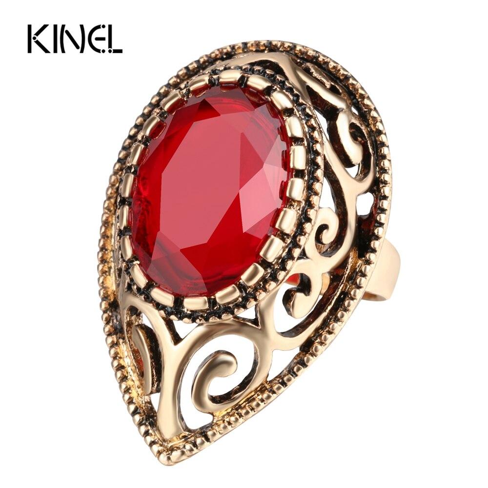 Kinel Simple Red Zirkon Antike Ringe Für Frauen Vintage Engagement Schmuck Gold Farbe Türkische Kristall Stein Big Ring 2017 Neue
