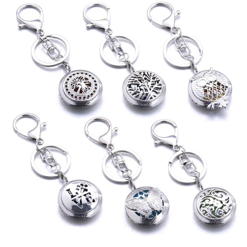 Criativo aromaterapia jóias árvore da vida coruja chaveiro perfume óleo essencial aroma difusor medalhão com 1 paddiy jóias femininas