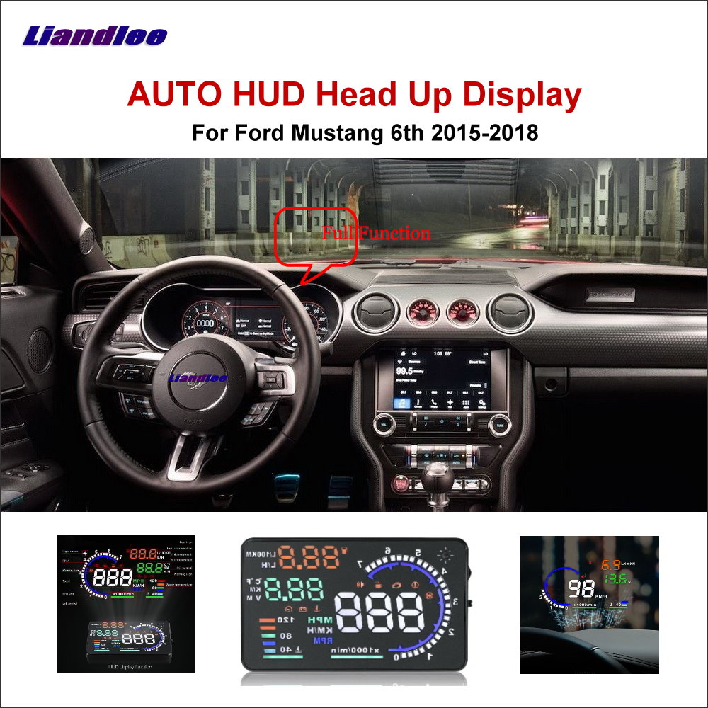 Liandlee Full Function HUD Car Head Up Display For Ford Mustang 6th 2015-2018 Safe Driving Screen OBD Data Projector Windshield