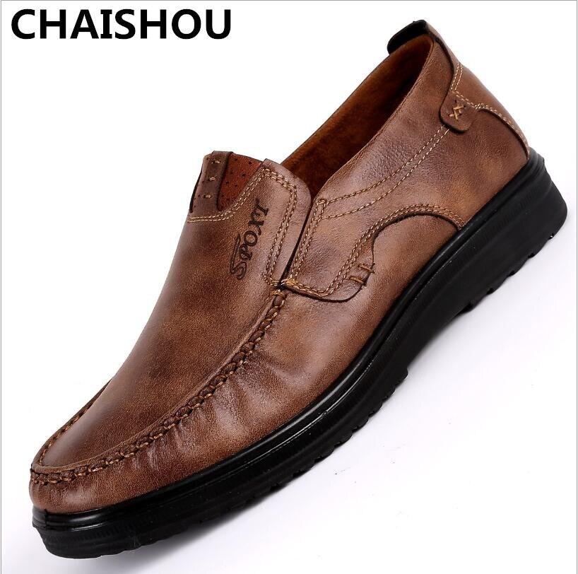 Chaishou 2019 novo confortável masculino sapatos casuais venda quente mocassins sapatos de couro apartamentos mocassins sapatos tamanho grande 38-48f-244