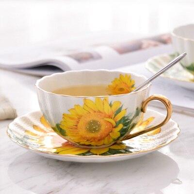 فنجان قهوة بورسلين بريطاني ، طقم فنجان شاي وصحن عباد الشمس ، إنجليزي ، بسيط ومبتكر