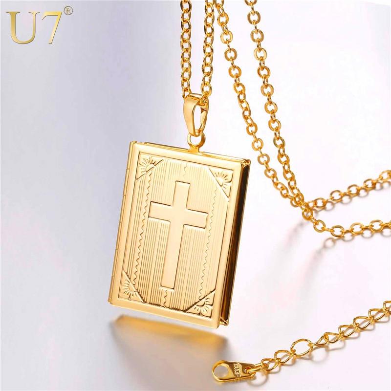 U7 collar medallón cruzado plata/Color oro joyería de moda memoria foto collares con colgante relicario para mujeres/hombres regalo P316