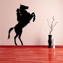 Adhesivo de pared creativo de Cowboy Driving Horse, papel tapiz decorativo para sala de estar en casa, papel pintado con caballo, papel pintado con silueta
