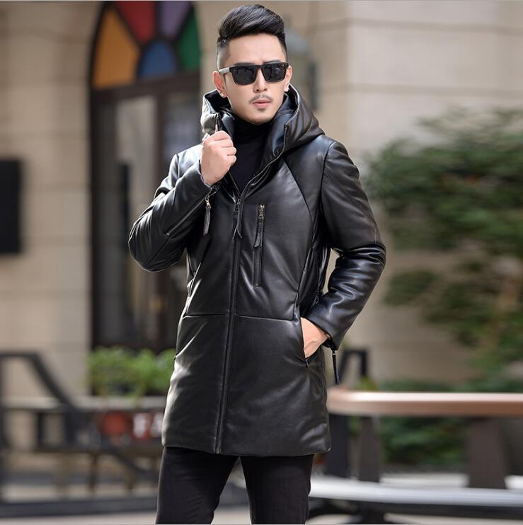 Chaqueta de piel larga de marca Coreana de talla grande para hombre, chaqueta de invierno para hombre, ropa de abrigo larga de pato Blanco cálido, abrigos con capucha para hombre, chaquetas de moda para M-4XL
