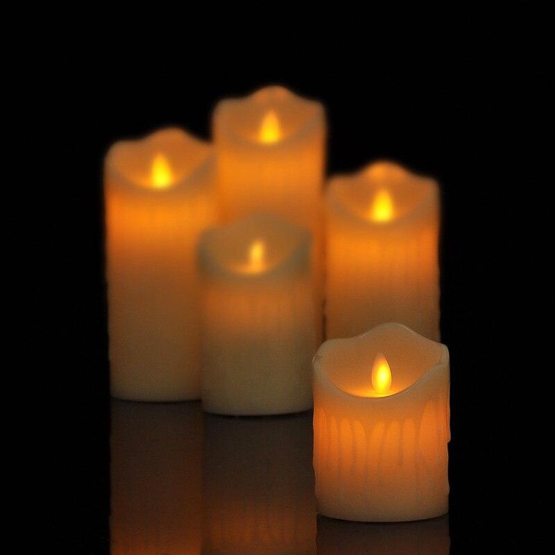 Velas en movimiento para decoración de cera, luces led ámbar, para boda,...