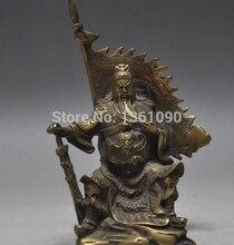 "Xd 00518 5.6 ""chinois cuivre Bronze Dragon Guan Gong Guan Yu épée guerrier bouddha statue"