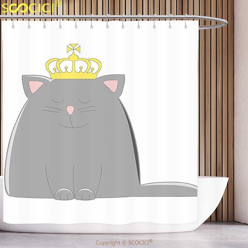 Elegante cortina de ducha dibujos animados Gris Carbón gato de colores con Rey reina corona mágica niños ilustraciones imprimir gris y dorado