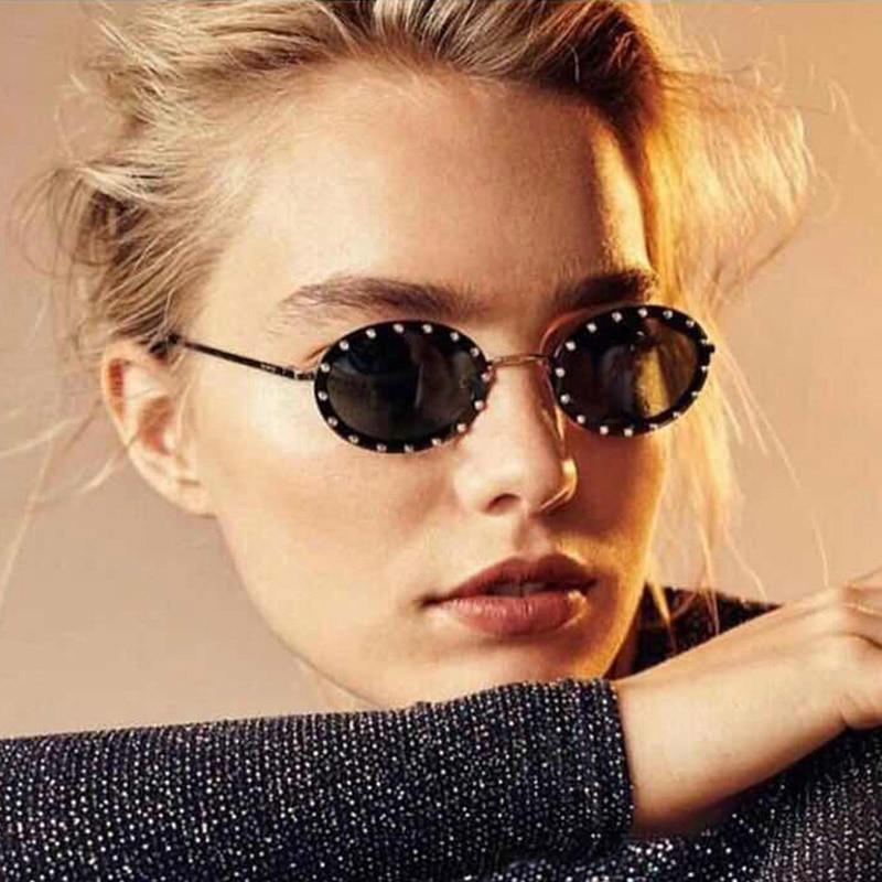 Солнцезащитные очки с кристаллами UV400 женские, винтажные брендовые дизайнерские круглые солнечные очки с бриллиантами, розовые, красные, фи...