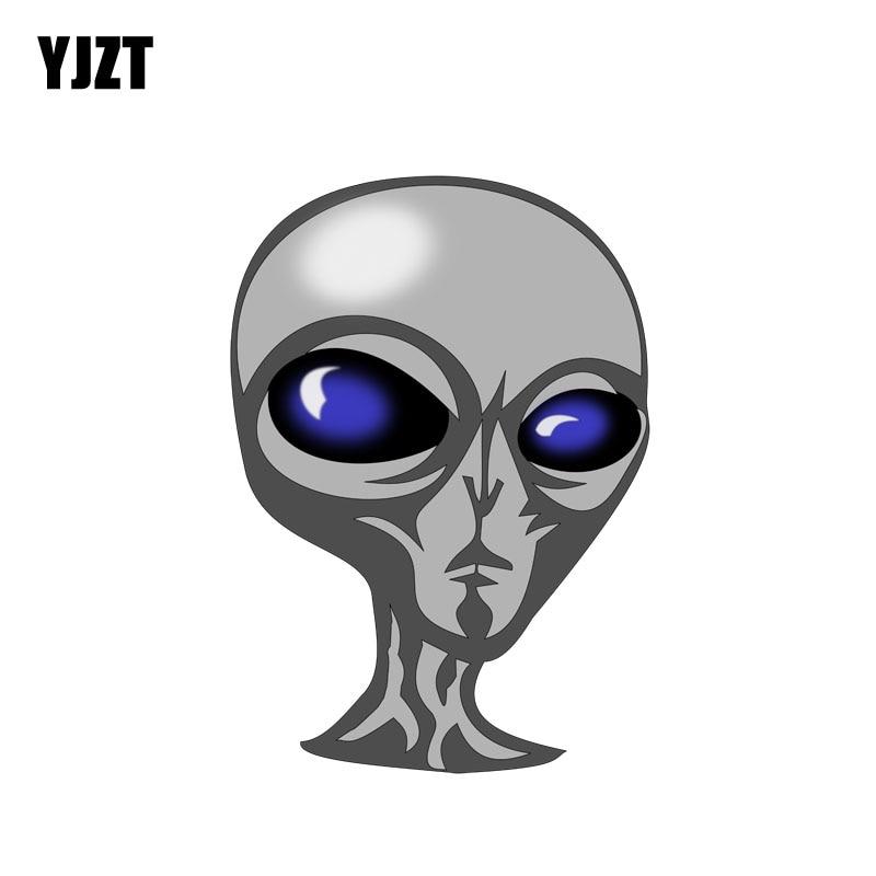YJZT 9.5CM*13.5CM  Accessories Creative Alien Head Funny PVC Cartoon Decal 6-2275