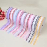 new ribbon fashion ultrasonic embossed bandwidth double sided check yarn and clothing material accessories 2 5cm20 yards