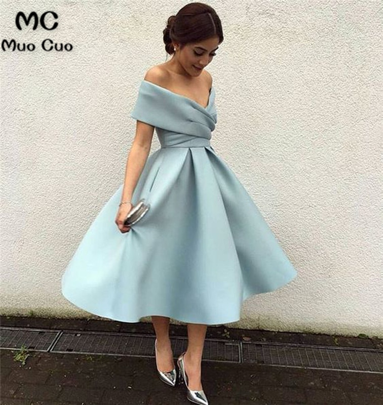 Ball Gown 2021 Real Off Shoulder Graduation Homecoming Dresses Pleat Evening Dress Homecoming Cocktail Party Dress Short