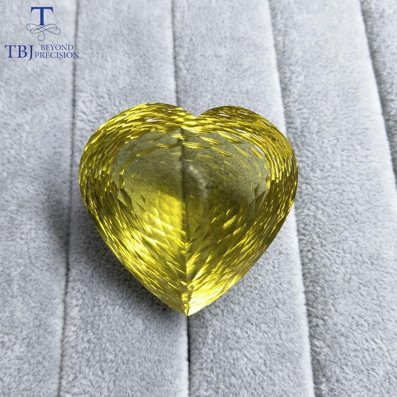 Tbj-كوارتز الليمون الطبيعي على شكل قلب كبير ، قطع عش الطيور ، أحجار كريمة سائبة للمجوهرات الذهبية ، 196.85 قيراط