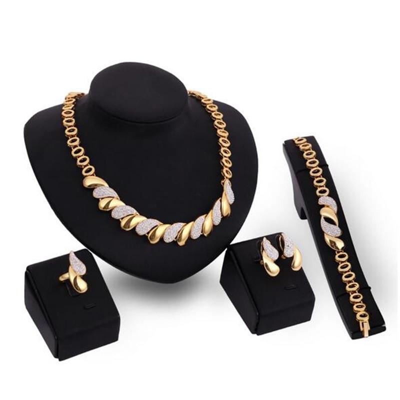Комплект ювелирных изделий в африканском стиле, Золотое модное ожерелье, серьги, браслет, кольцо для женщин, золотой цвет, комплект ювелирных изделий, аксессуары для свадьбы