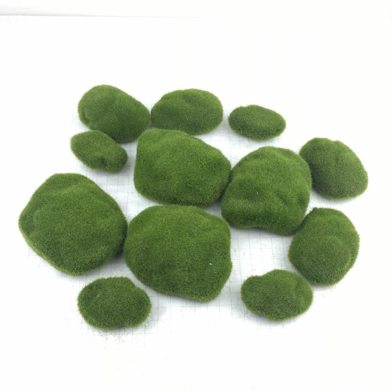 Artificial Bola de musgo decoración de jardín plantas casa decoración falso vegetación DIY de simulación de piedra verde botánica pared de fondo