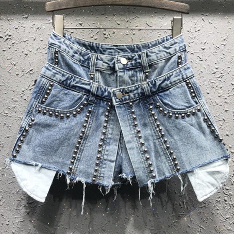 Short jean femme, faux deux pièces, jupe courte, perlée, taille haute, printemps et été 2020