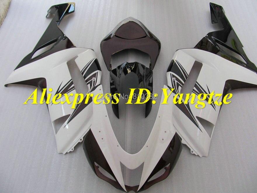 Kit de carénage pour moto, ensemble de carénage pour KAWASAKI Ninja ZX6R 07 08 ZX6R 636 2007, blanc, marron, noir, ABS, set + 7 cadeaux, SC48