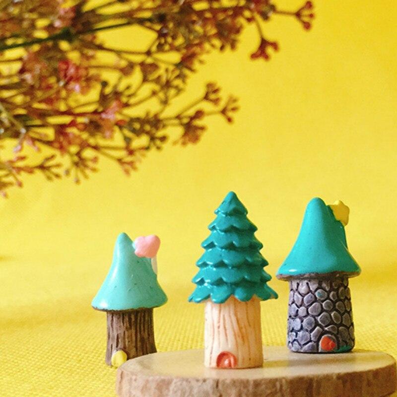 Cabañas en miniatura/casa azul pequeña/nido de hongo ciervo Bebé/bonito/jardín de hadas/Gnomo/terrario con musgo decoración del hogar/suministros para manualidades