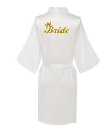 Vestido de seda de satén para mujer vestido de novia dama de honor kimono Robe Brida