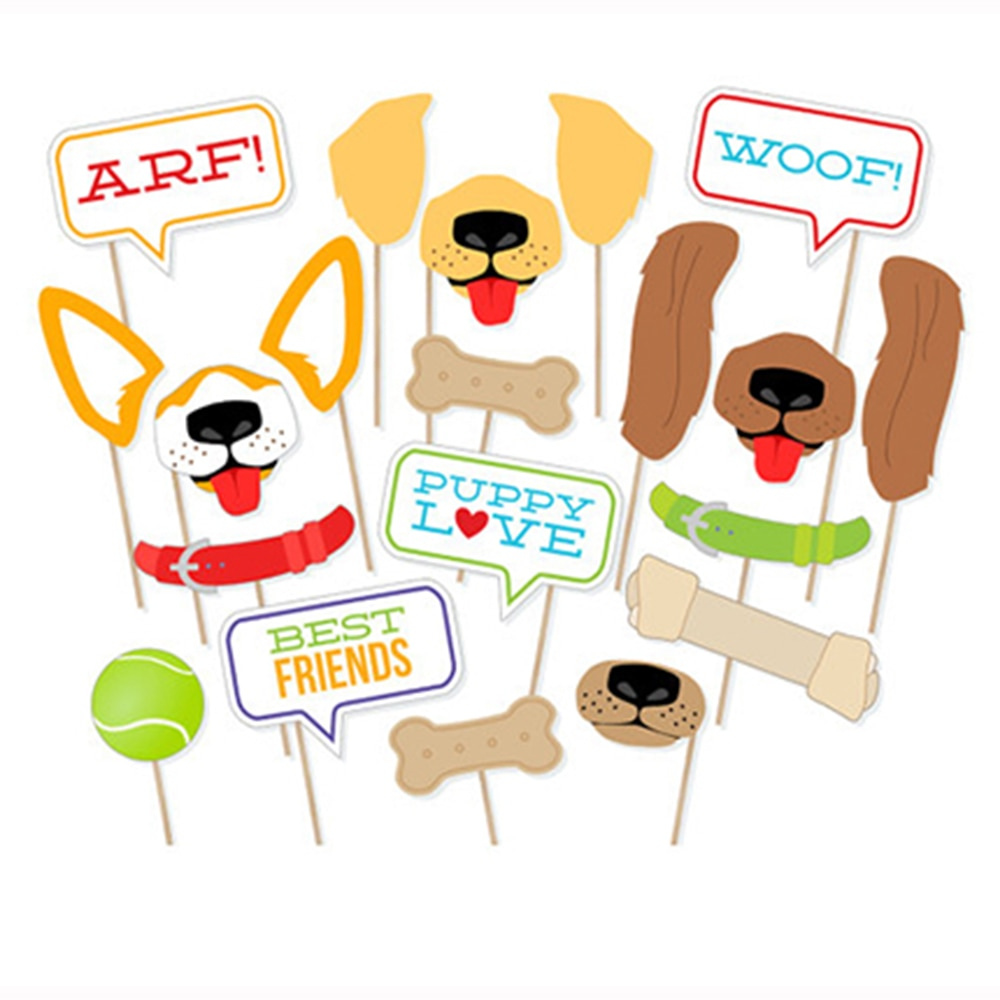 20 unids/set de decoraciones de fiesta temáticas para mascotas DIY cachorro perros Photo Booth Props ARF mascotas WOOF Photobooth Props fiesta suministros