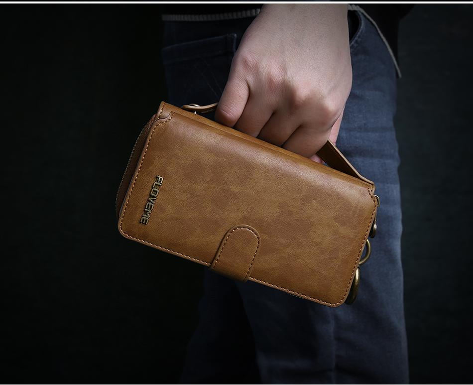 Floveme vintage leather wallet phone case for iphone 7 7 plus 6 6 s plus retro torebka slot kart pokrywa dla samsung s7 s8 coque 18
