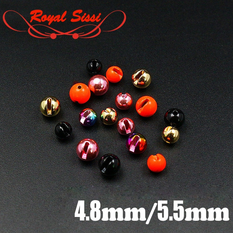 Royal Sissi 15pcs/pack 5 colors big sizes Slotted Tungsten beads high density round heavy Tungsten jig head fly tying materials недорого
