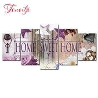 Ensemble de peinture diamant 5D  5 pieces  broderie  mosaique  decoration dinterieur