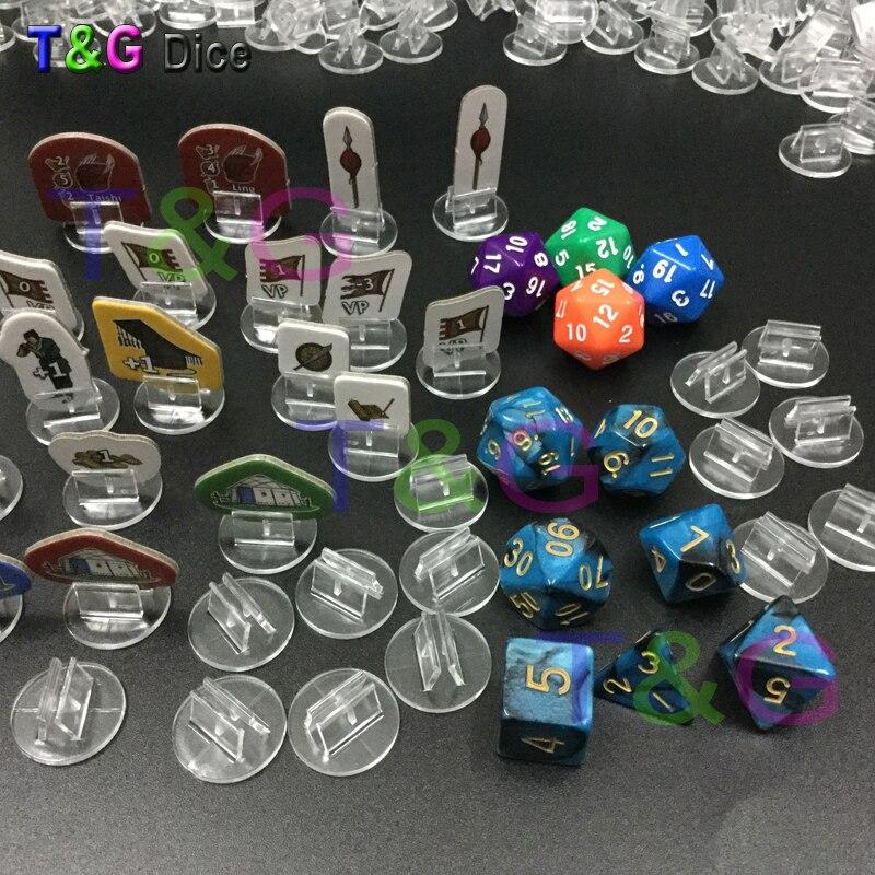 Soporte plástico multicolor transparente de alta calidad para tarjeta de papel de 2mm, mesa de juegos de mesa componentes 50 Uds