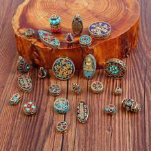 24 Styles Retro Nepal Beads Handmade Red Coral Tibetan Bead Antique Golden For Jewelry Making DIY Bracelets