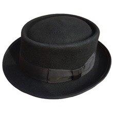 Classic Wool Felt Stingy Brim Pork Pie Hat  Fashion Wool Felt Porkpie Jazz Fedora Hat Black Brown Round Top Trilby Hats