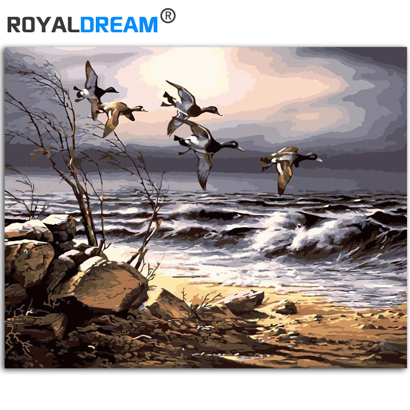 ROYALDREAM, GEES marinos, pintura Kits de pintura por números DIY por números, regalo de arte de pared moderno