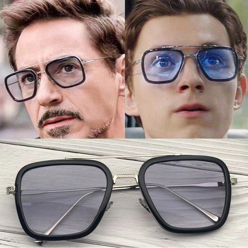HJYBBSN Vintage Avengers 4 Tony stark Quadrat Sonnenbrille Männer Spinne Eisen Mann Sonnenbrille Kühlen männer Steampunk Brillen UV400