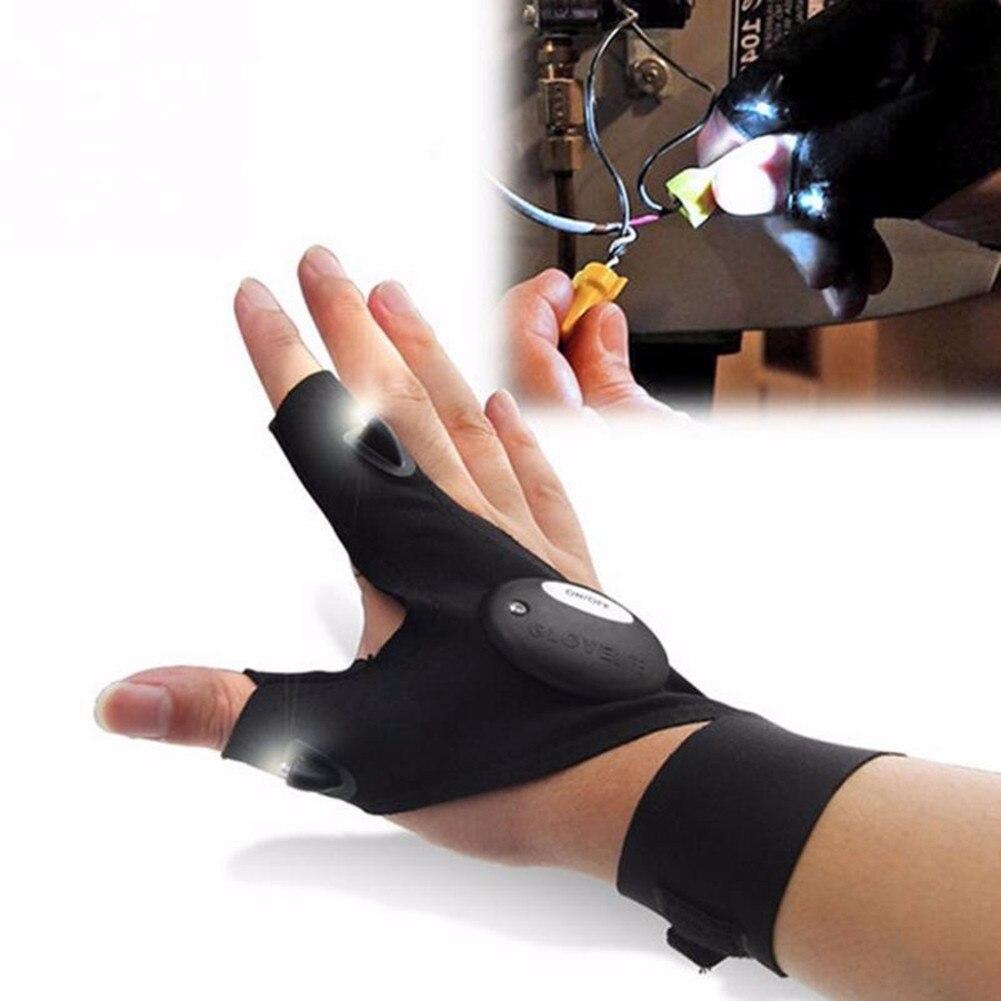 * Herramienta de reparación de neumáticos para bicicleta de coche guante de pesca nocturna con herramientas de rescate de luz Led guante mágico para exteriores con correa sin dedos
