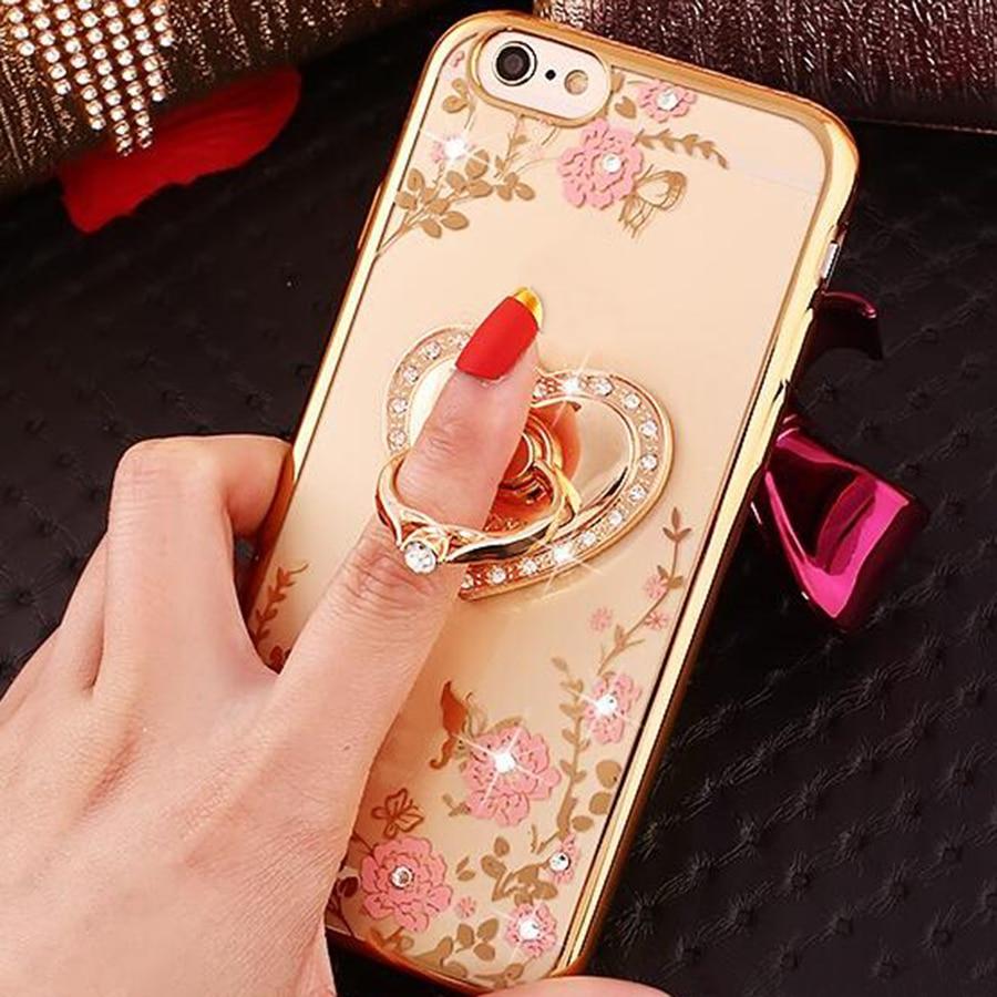 Anel de Diamantes de luxo Caso TPU Para Samsung Galaxy S9 S8 S7 Borda S6 S5 Nota 5 Grand Prime J5 J7 strass Chapeamento Tampa Traseira Coque