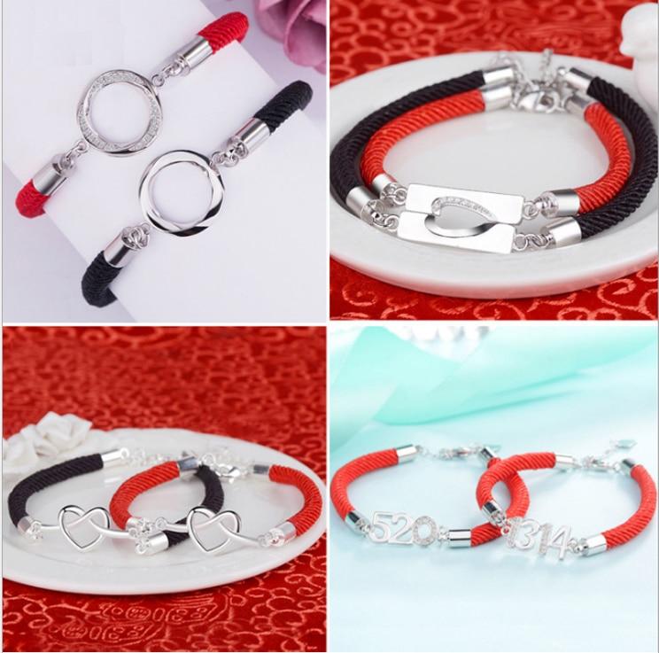 JKJ cadena roja moda coreana 1314 plata 520 pulsera estudiante hombres mujeres
