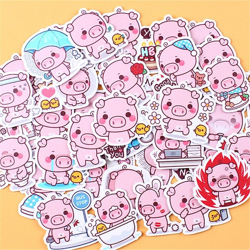 Pegatinas de papel de cerdo rosa de dibujos animados, manualidades y álbumes de recortes, adhesivos para juguetes de niño, pegatinas decorativas, papelería DIY 35 Uds