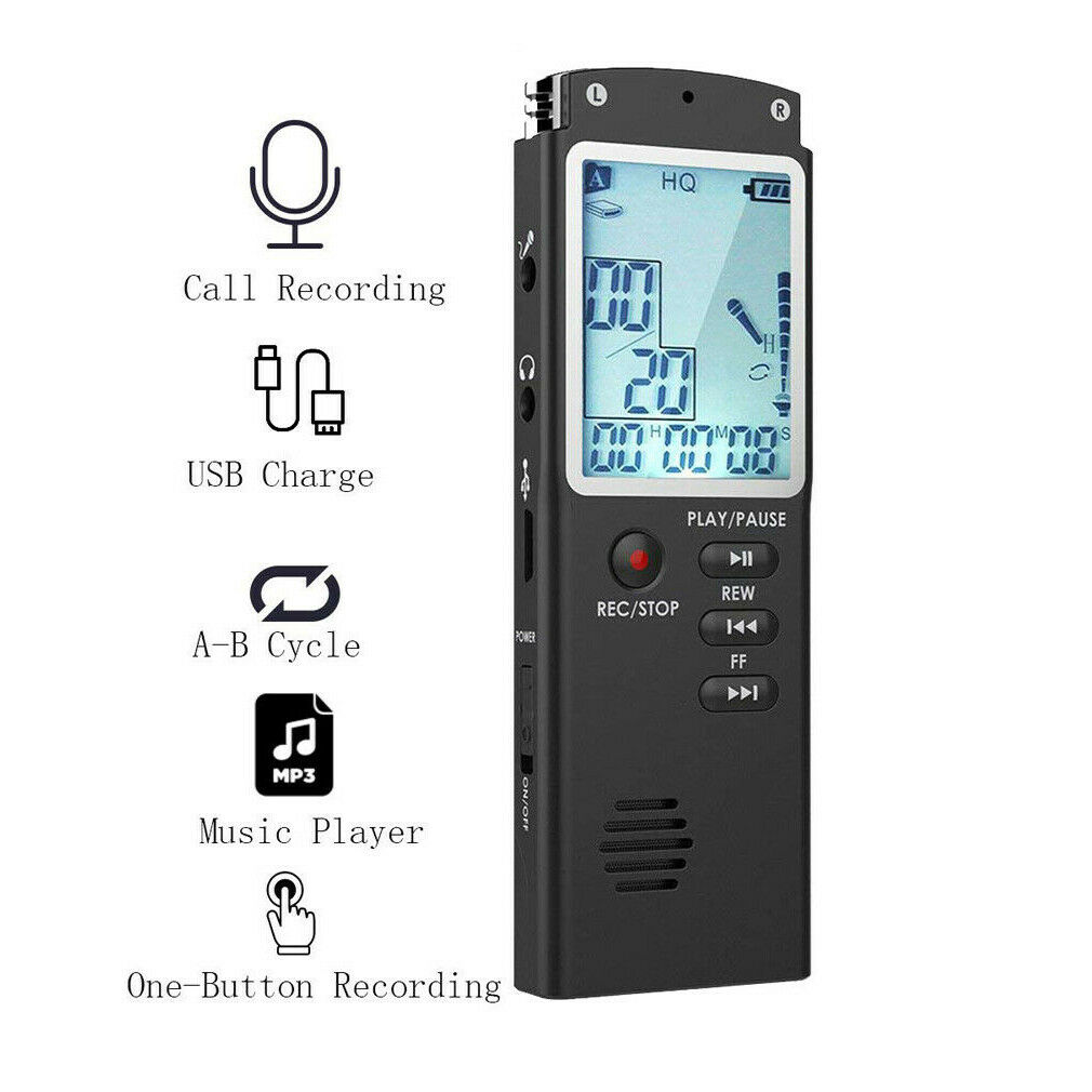 8GB/16GB/32GB grabadora de voz USB profesional 12 horas Dictaphone HD Mini grabadora de Audio Digital pluma de sonido con reproductor de MP3 WAV